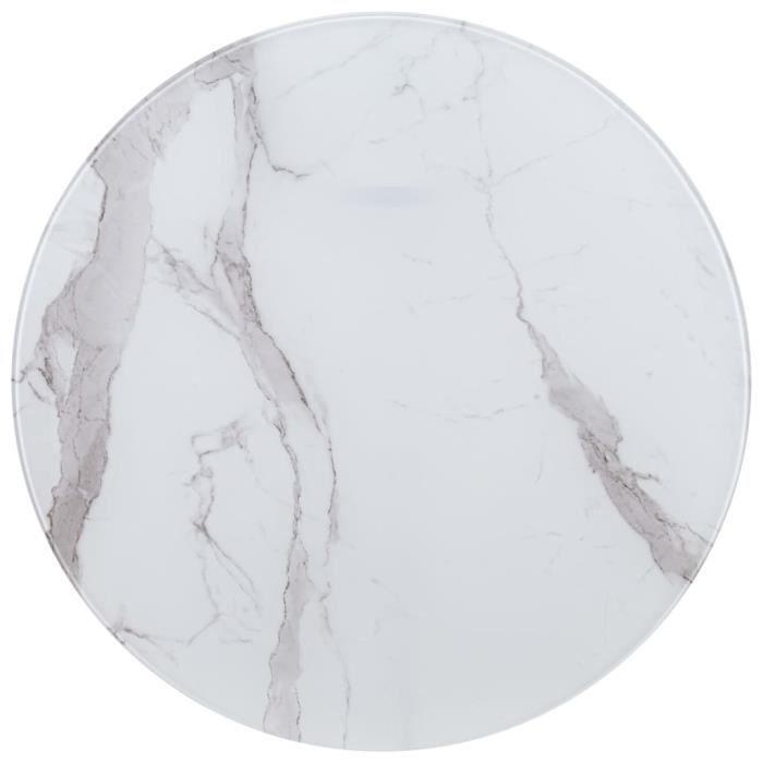 Luxueux Magnifique-Dessus de table Plateaux Blanc ?80 cm Verre avec texture de marbre