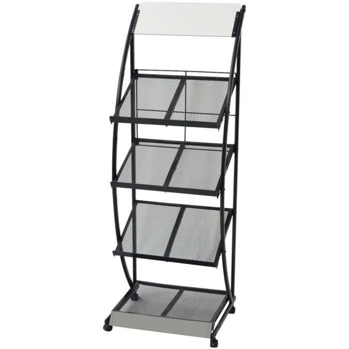 Porte-revue 47 x 40 x 134 cm Noir et blanc A4