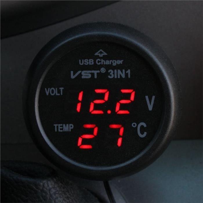 12-24V voiture allume-cigare prise avec port USB / voltmètre / thermomètre pour camion voiture (rouge)