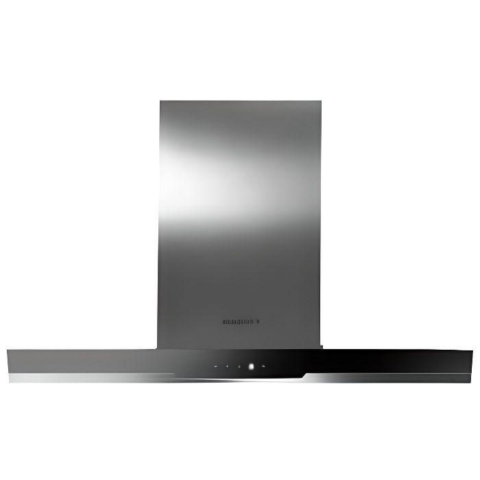 Rosieres - hotte décorative 90cm 510m3/h inox verre noire - rdsv985pn