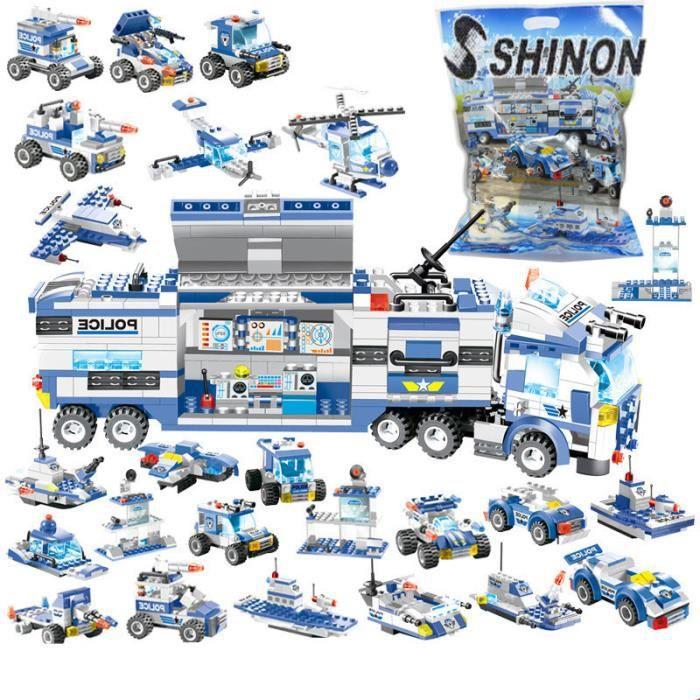 Ville Police Robot avion voiture modèle blocs de construction ensemble SWAT Playmobil créateur assemblée jouets éducatifs 762 pièces