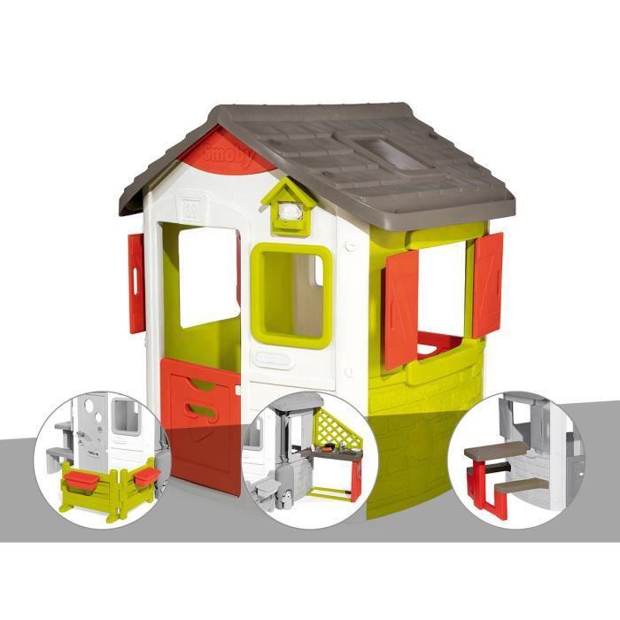 Cabane enfant Neo Jura Lodge - Smoby + Espace jardin + Cuisine d'été + Table pique-nique 115,4 x 123,3 x 132 cm