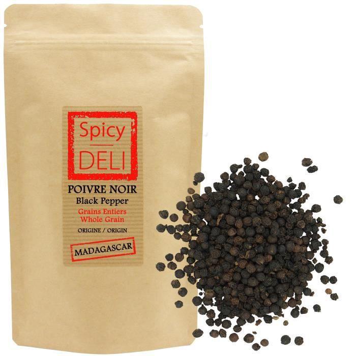 Poivre noir en grains de Madagascar 500 gr - Agriculture durable- Sachet kraft refermable.