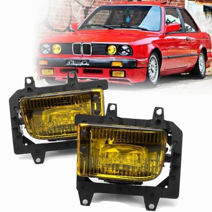 TMEPSA Paire de Feux antibrouillard pare-chocs avant lentille jaune pour BMW E30 berline série 3 85-93