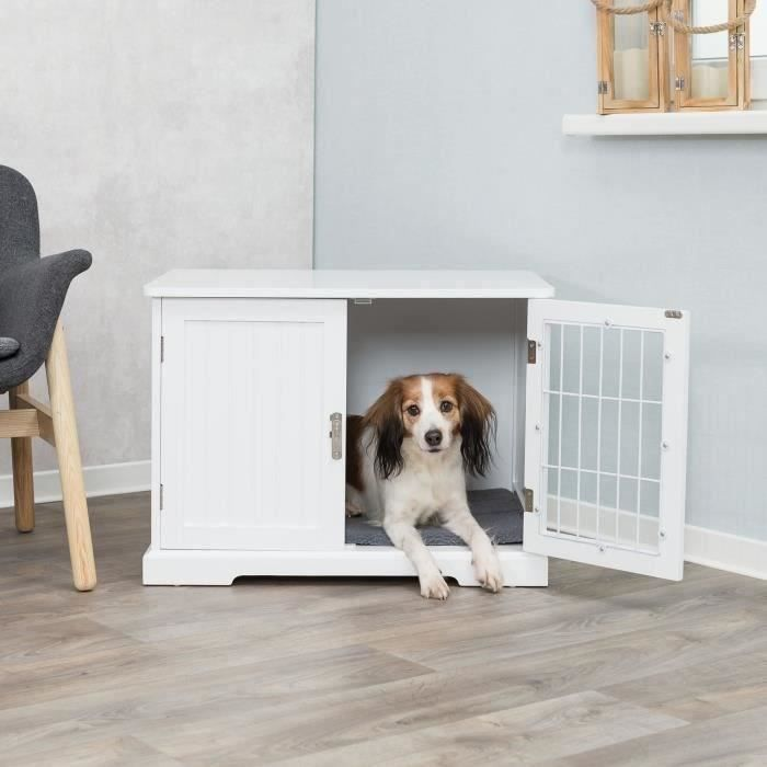 TRIXIE Niche d'intérieur - Taille M - 73 x 53 x 53 cm - Blanc - Pour chien et chat
