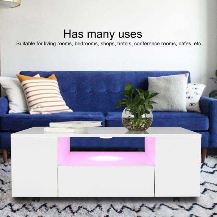 Table basse à LED avec table à thé rectangulaire mobile Nouvelle Arrivee