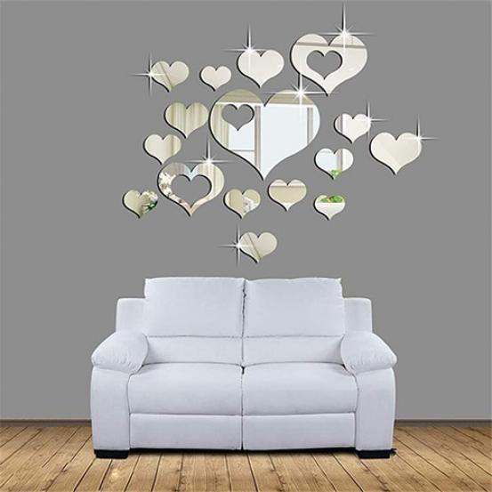 En forme de cœur Wall stickers//decals 3 Tailles /& 21 Couleurs Disponibles