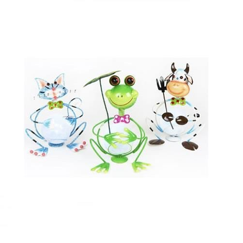 Figurine animal m tal solaire grenouille achat vente for Decoration jardin grenouille