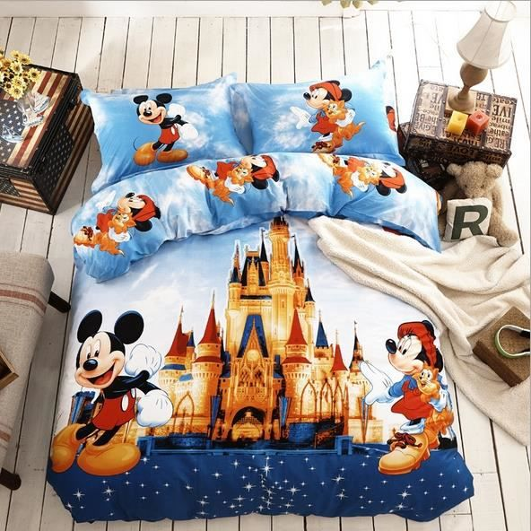 parure de lit mickey et minnie coton 200 230 cm 3d effet 4 piece achat vente housse de. Black Bedroom Furniture Sets. Home Design Ideas