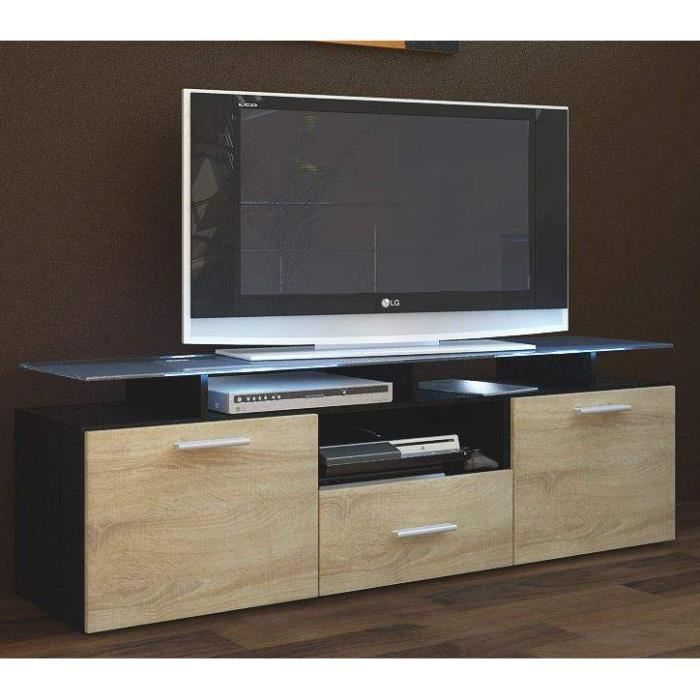 meuble tv noir et bois brut 146 cm achat vente meuble. Black Bedroom Furniture Sets. Home Design Ideas