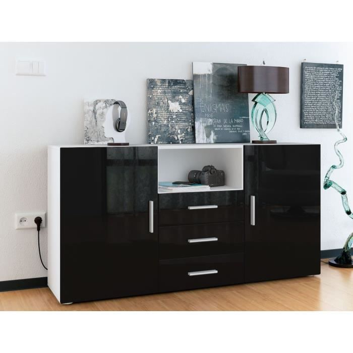 buffet enfilade blanc et noir 3 tiroirs achat vente meuble tv buffet enfilade blanc et no. Black Bedroom Furniture Sets. Home Design Ideas