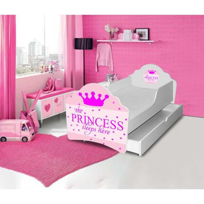 lit gigogne enfant sleeping princesse sommier matelas 140x70cm achat vente lit complet lit. Black Bedroom Furniture Sets. Home Design Ideas