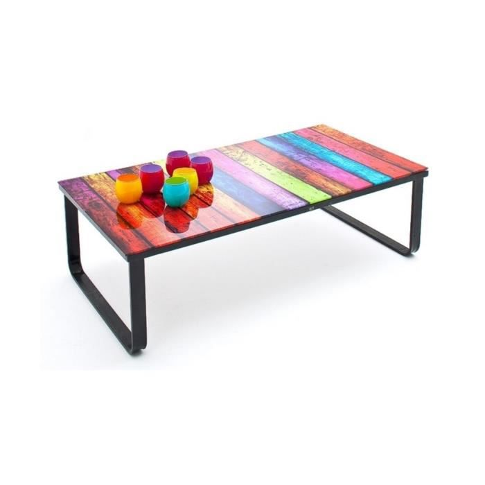 table basse design noire avec plateau en verre imprim palette multicouleur multicolore achat. Black Bedroom Furniture Sets. Home Design Ideas