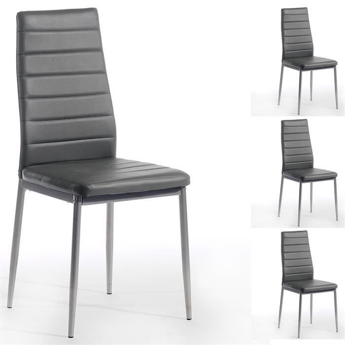 lot de 4 chaises nathalie simili cuir gris achat vente chaise gris cdiscount. Black Bedroom Furniture Sets. Home Design Ideas