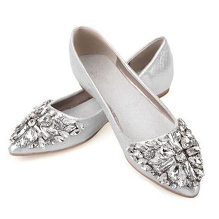 Femme Strass Pointed Chaussures Flat Mode Charmant Chaussure