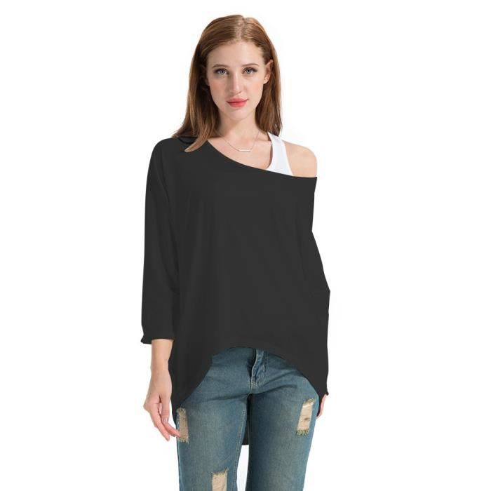 Femme Chemise Chic Manches Longues Grande Taille T-shirt Manches Chauve  Souris Tops 1GB8I3 Taille-38 5925144b0891