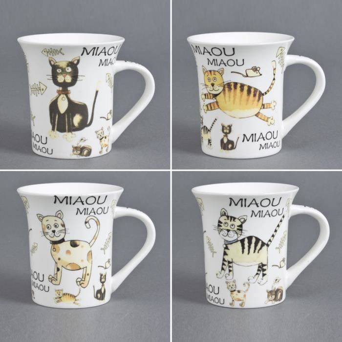trend 39 up mug miaou assortis lot de 6 achat vente bol mug mazagran cdiscount. Black Bedroom Furniture Sets. Home Design Ideas