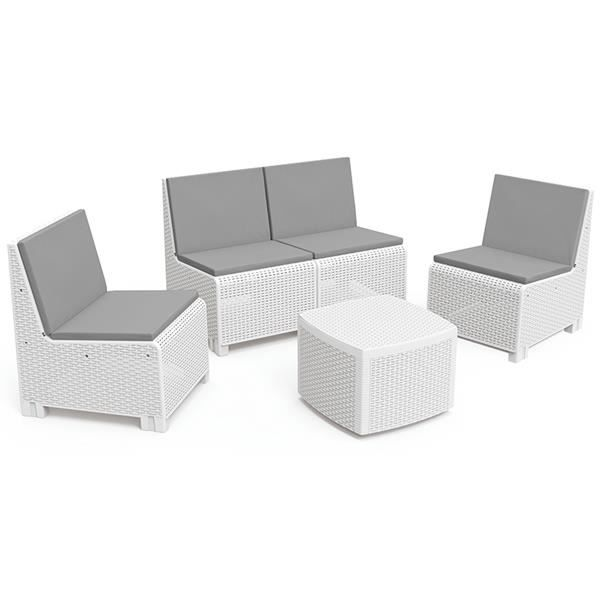 salon de jardin en resine tressee blanc achat vente pas cher. Black Bedroom Furniture Sets. Home Design Ideas