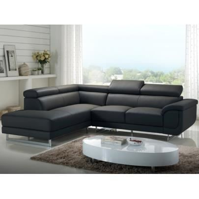 canap d 39 angle xxl en cuir puerto anthracite achat vente canap sofa divan cdiscount. Black Bedroom Furniture Sets. Home Design Ideas