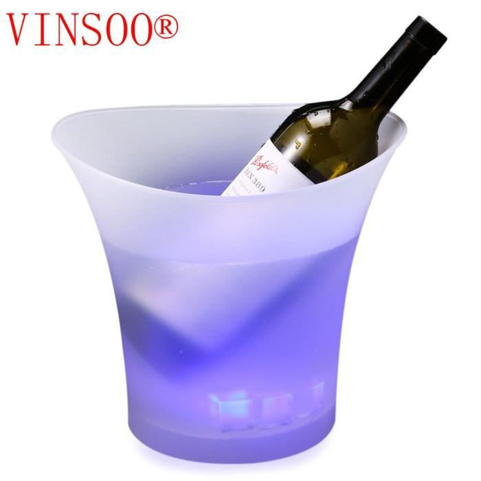 vinsoo 5l color led seau glace champagne vin bi re en plastique lumineux refroidisseur non. Black Bedroom Furniture Sets. Home Design Ideas
