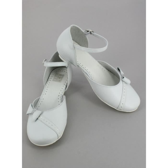 Chaussures blanches fille en cuir Florentine