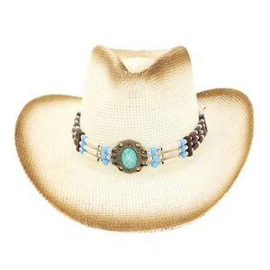 CHAPEAU - BOB Les hommes et les femmes de cowboy en paille tress