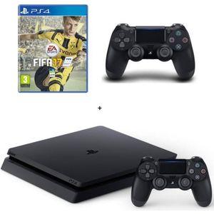CONSOLE PS4 Nouvelle PS4 Slim Noire 500 Go + FIFA 17 + 2e Mane
