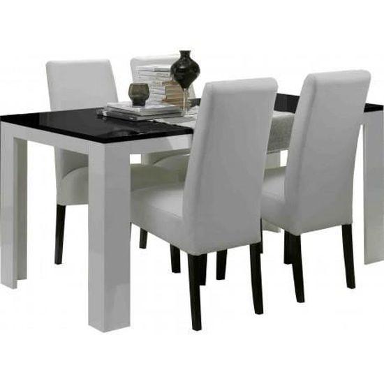 Table Salle A Manger Model Pisa Blanc Noir L160cm Sans Chaises