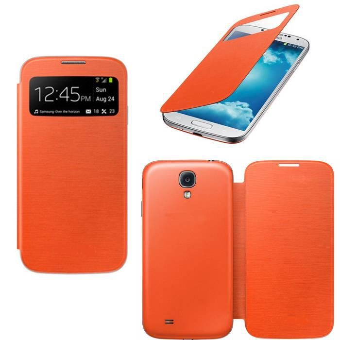 Housse coque tui samsung galaxy s4 view orange achat for Housse samsung galaxy s4