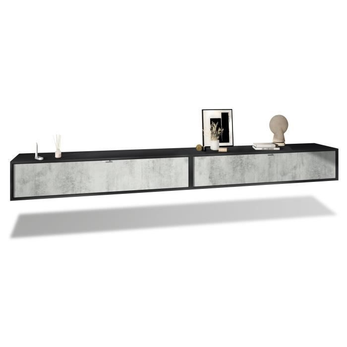 Ensemble de 2 set meuble TV Lana 140 armoire murale lowboard 140 x 29 x 37 cm, caisson en Noir mat, façades en Aspect Béton Oxyde