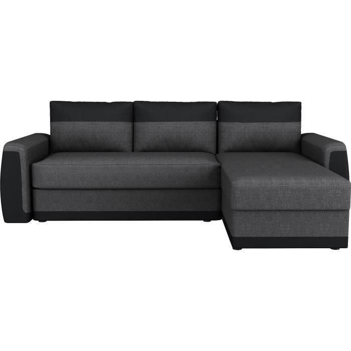 Canapé d'angle convertible 3 places - Simili noir et tissu gris anthracite - Contemporain - L 230 x P 142 cm - JAMES