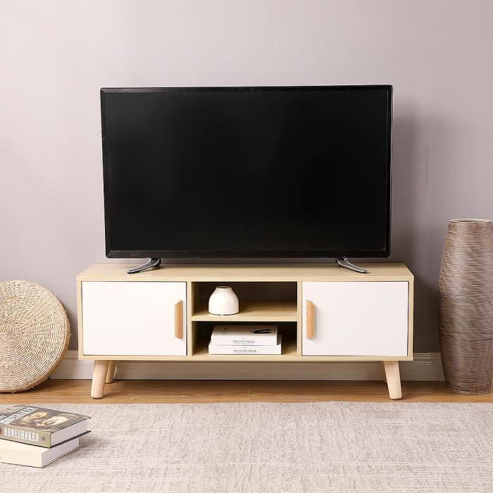 WISS Meuble TV Jaune-blanc 110 cm Style scandinave avec 2 Portes et 2 niches