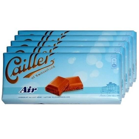 5 tablettes Chocolat Cailler Air