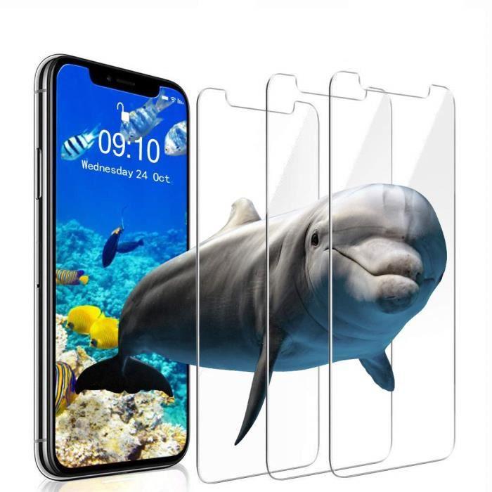 Verre Trempé iPhone XS/X [Lot de 3] [Face ID Complètement Protégé] Film Protection Ecran Vitre HD, Dureté 9H pour iPhone XS/X