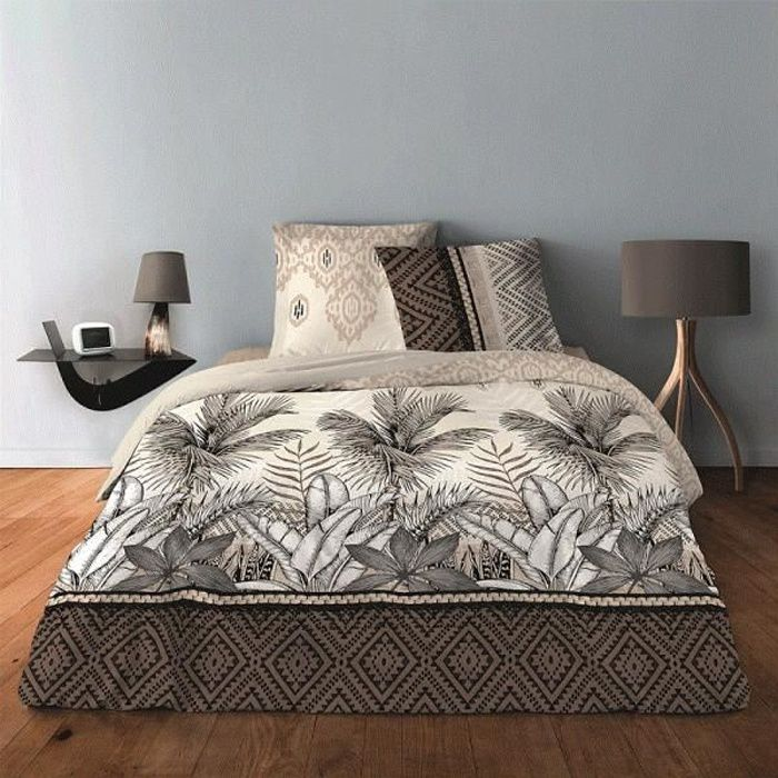 Housse de couette 240x260 + 2 taies Jungle Taupe