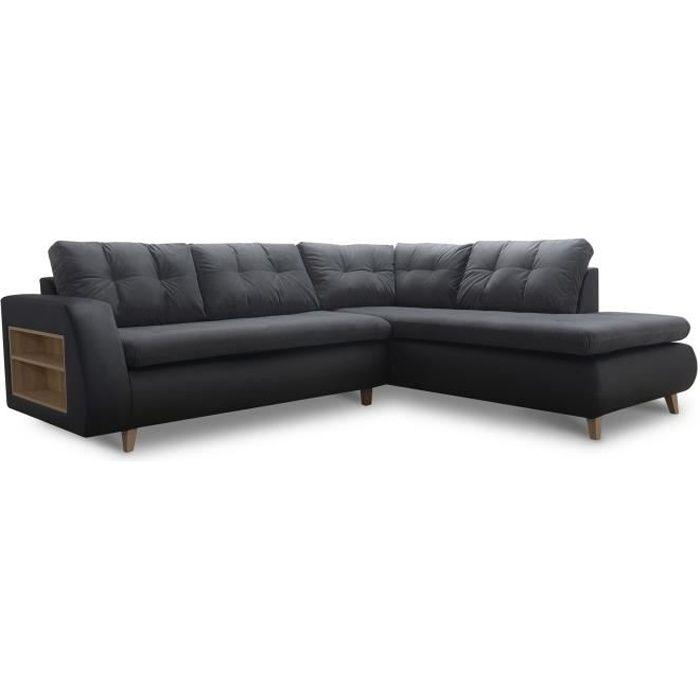 Canapé d'angle design scandinave en tissu gris anthracite et PU noir ESTHER – Angle Droit