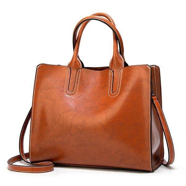 HJPHOEBAG cuir sacs à main de luxe femmes sacs dame grand sac f - Modèle: White brown Grande ( Max longueur > 50 cm ) - YSSTDA04323