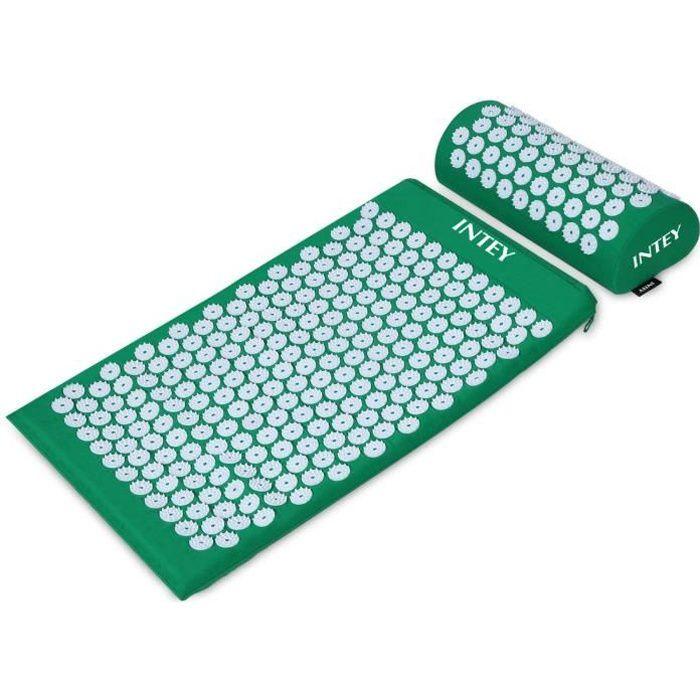INTEY Kit d'Acupression Tapis Coussin de Massage pour Yoga Traitement des Douleurs Tensions Violet-Vert 64×40×2.5cm