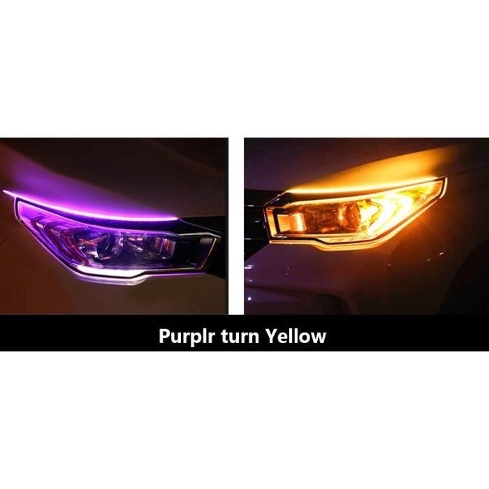 Purple turn yellow 30cm -Bande de lumière Led DRL Flexible et Flexible, Tube de guidage pour voiture, clignotant blanc, jaune, étanc