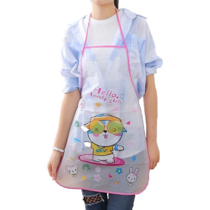 AR3888 Femmes tablier Pvc imperméable mignon dessin animé mode cuisine cuisine tablier sans manches taille tablier cuisine aide-1