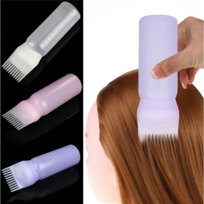 Blanc 1 Pcs Professionnel Cheveux Coloration Peigne Vide Cheveux Teinture Bouteille avec Applicateur Brosse Distribue Blanc Blanc