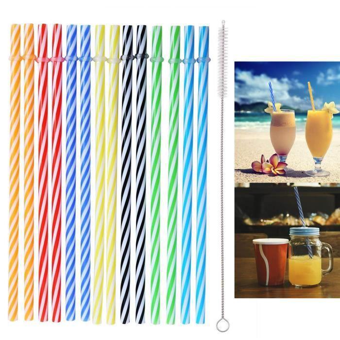 Beau Bleu royal Mode 10 Pcs Multicolore Réutilisable Pailles En Plastique Avec 1 Nettoyant Brosse Kit pour Fête ou Fam Bleu Royal