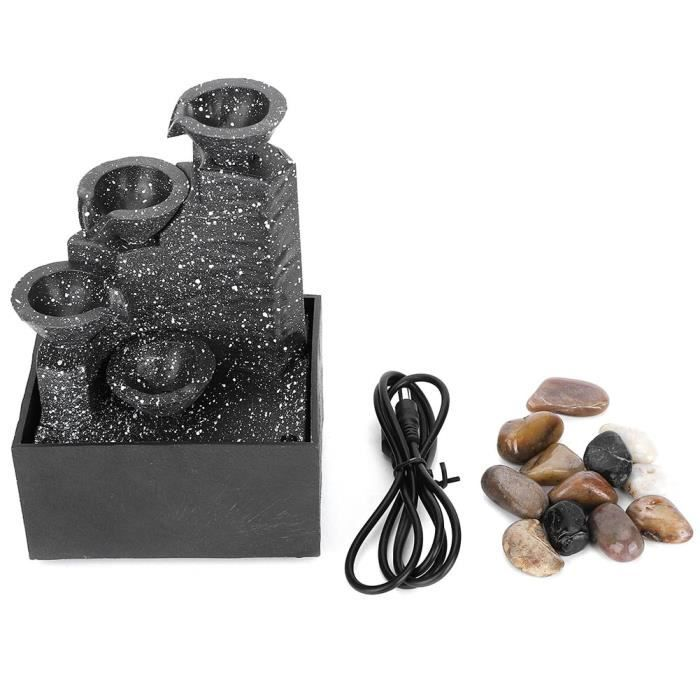 Décor de chambre - Artisanat d'ornement de fontaine d'eau USB de bureau, cascade élégante avec lumière LED pour intérieur,