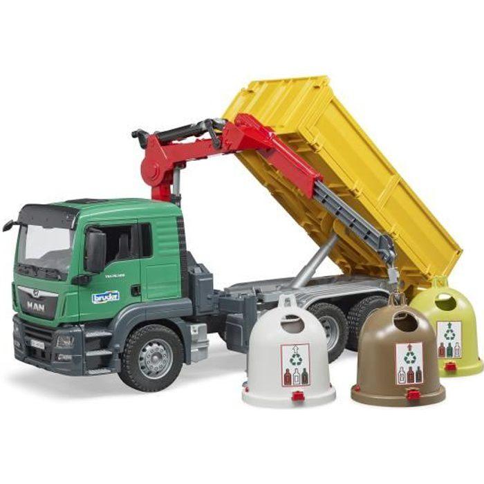 BRUDER - Camion MAN TGS de transport avec grue, 3 trois conteneurs à verre et poubelles
