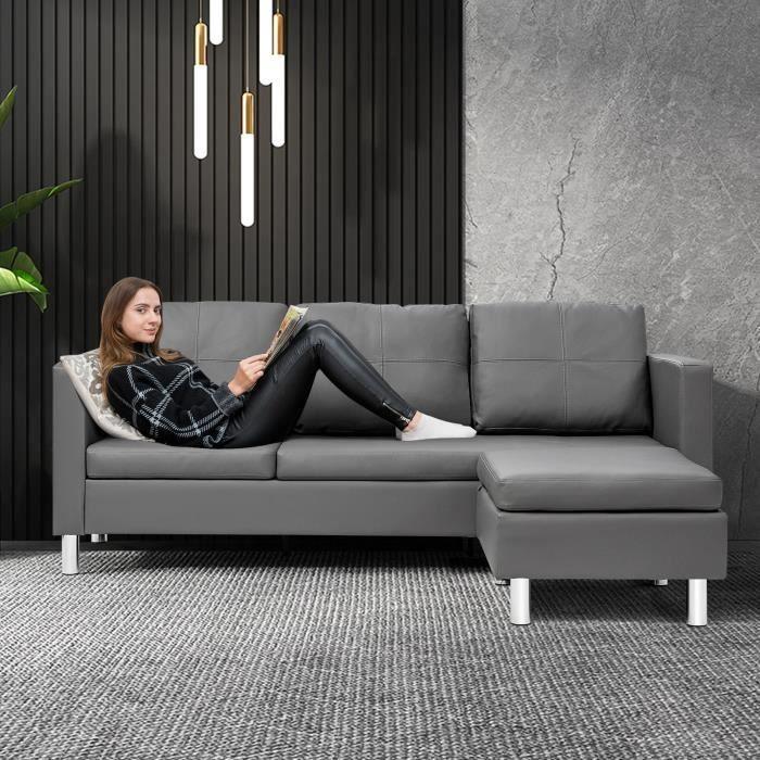 COSTWAY Canapé d'Angle 3 Places avec Méridienne Réversible en Cuir PU Gris 188x62x60CM pour Salon,Appartement,Séjour