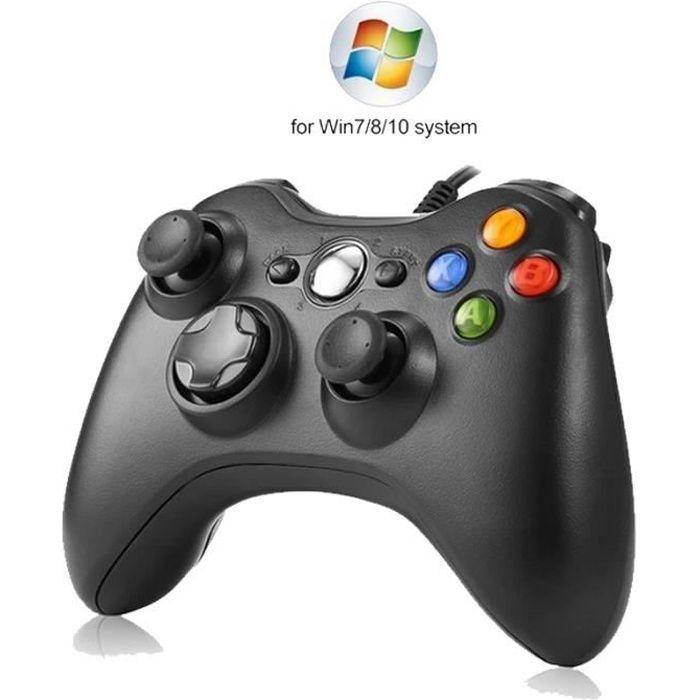 Manette de jeu filaire USB avec vibrations pour PC Windows 7/8/10, joystick, contrôleur de haute qualité