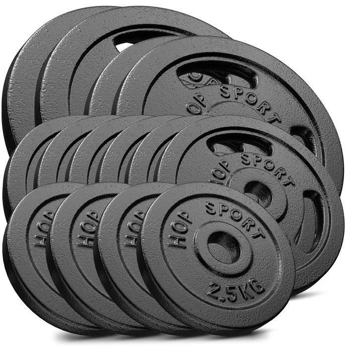 HS Hop-sport Disques en Fonte 90kg (2x15kg, 2x10kg, 6x5kg, 4x2.5kg) SET ABF