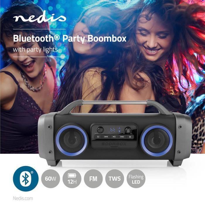 RADIO Party Boombox Autonomie d'Écoute de 12 Heures - Technologie Sans Fil Bluetooth® - Radio FM - Feux de Fête - Noir