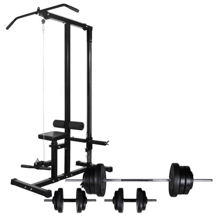 Tour de musculation avec jeu d'haltères et poids 60,5 kg Machines d'halterophilie et supports