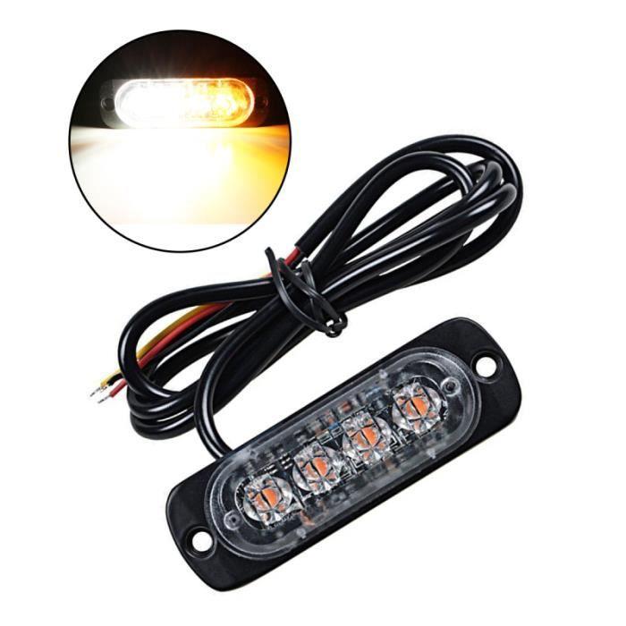 4 LED 12W 12-24V lumière stroboscopique Attention Flash lampe en aluminium d'urgence pour voitures camions motos GYROPHARE